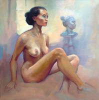 Female Nude with Sculpture