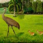 """Sandhill crane with chicks"" by Zinastr"