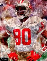 Jerry Rice Autographed Water Color print