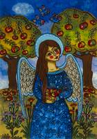 The autumn angel with the apples