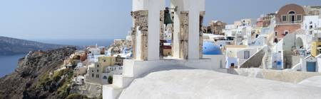 Panoramic photo of Oia in Santorini