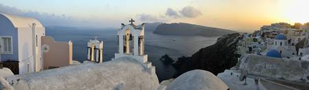 Panorama of Santorini at sunset