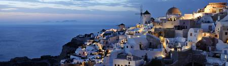 Panorama of Santorini at night