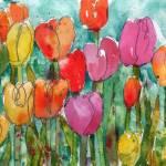 """Watercolor Floral, Tulip Trouble"" by schulmanart"