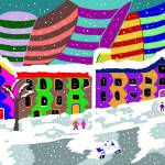"""Winter in the colorful city"" by ArtNaive"
