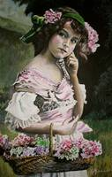 Victorian Girl and Flowers