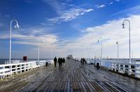Sopot's wooden pier photographed in early morning.