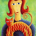 """""""Woman with a cat"""" by julienicholls"""