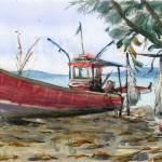 """red boat on the sand"" by irfa"