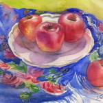 """still-life with apples and blue babushka"" by irfa"