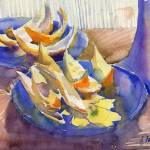 """blue plate with orange peels"" by irfa"