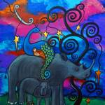 """""""A Rhino and Peacock Lullaby"""" by juliryan"""