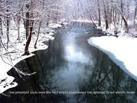 Snowy stream with quote