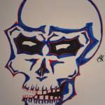 """""""SkullBlueRedLine"""" by OneSickJoke"""