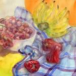 """Blue plaid shirt, bananas, grapes & Thai-apples"" by irfa"