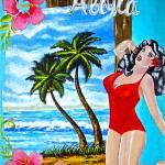 """Tropical Pinup Girl"" by SheenaBolken"