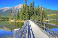 Bridge to Pyramid Island, Jasper National Park
