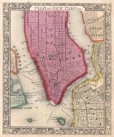 Vintage Map of Lower New York City (1860)
