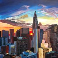 Sunset Over New York Midtown Manhattan Art Prints & Posters by M Bleichner