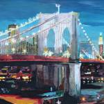 """New York City - Manhattan Bridge At Night"" by arthop77"