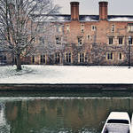 """Magdalene College, Cambridge in the Snow"" by jmpaget"