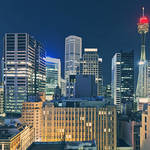 """Sydney Tower and Cityscape at Night"" by jmpaget"