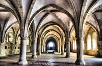 Dormitory of Alcobaca monastery in Portugal