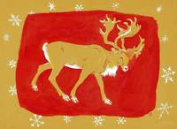 Reindeer, 1960s (gouache on coloured card)