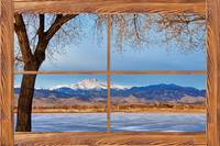 Longs Peak Across The Lake Barn Wood Window