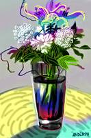 Flowers In A Blue Vase Version Two