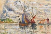 Fishing Boats in La Rochelle, c.1919-21 (graphite,