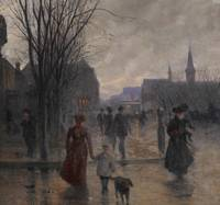 Rainy Evening on Hennepin Avenue, c.1902 (oil on c
