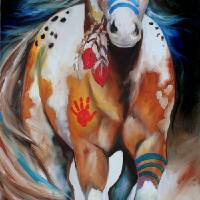 """INDIAN WAR HORSE RUNNING"" by MBaldwinFineArt2006"