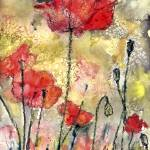 """Red Poppies Botanical Watercolor and Ink Floral"" by GinetteCallaway"