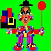 Trisha Blue Water Balloon Clown Digital Abstract A