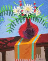 Flowers In A Red Vase