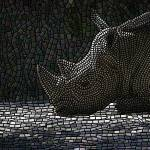 """mosaic - ""Rhino Ruminations"", white rhino"" by kinnally"