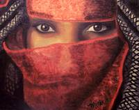 Woman with red veil