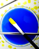DIAGONAL BRUSH YELLOW ON BLUE, EDIT B