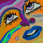 """Orange & Purple Face"" by GroffArt"