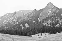 Three Giant Flatirons View Boulder Colorado BW