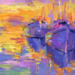 """boats in a Sunset Impressionistic painting"" by SvetlanaNovikova"
