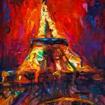 """Abstract eiffel tower paris at night painting"" by SvetlanaNovikova"