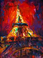 Abstract eiffel tower paris at night painting