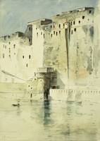 Old Fortress Naples, (watercolour on paper)
