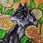 """Cat and Chrysanthemums"" by LynnetteShelley"