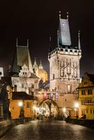 Prague and Charles Bridge in the night
