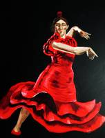 The Lady in Red is dancing Flamenco