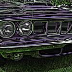 """IMG_2670_edited-1 purple dodge woodcut"" by pi"