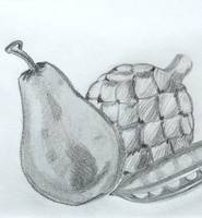 Pear Artichoke  Snap Pea Drawing 2004